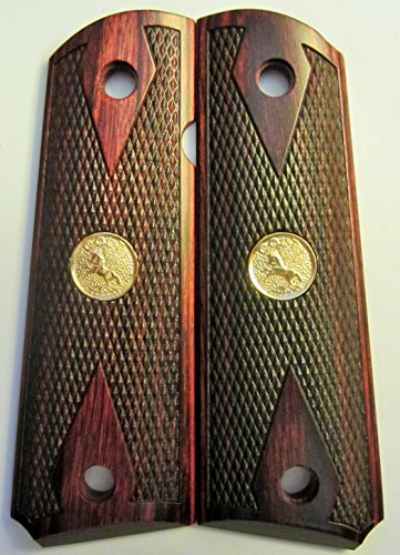 Colt 1911 Grips Checkered Rosewood Double Diamond With Colt Gold Medallions