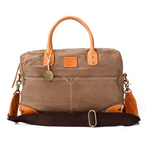 Will Leather Goods Mens Waxed Canvas Flight Bag - Brown