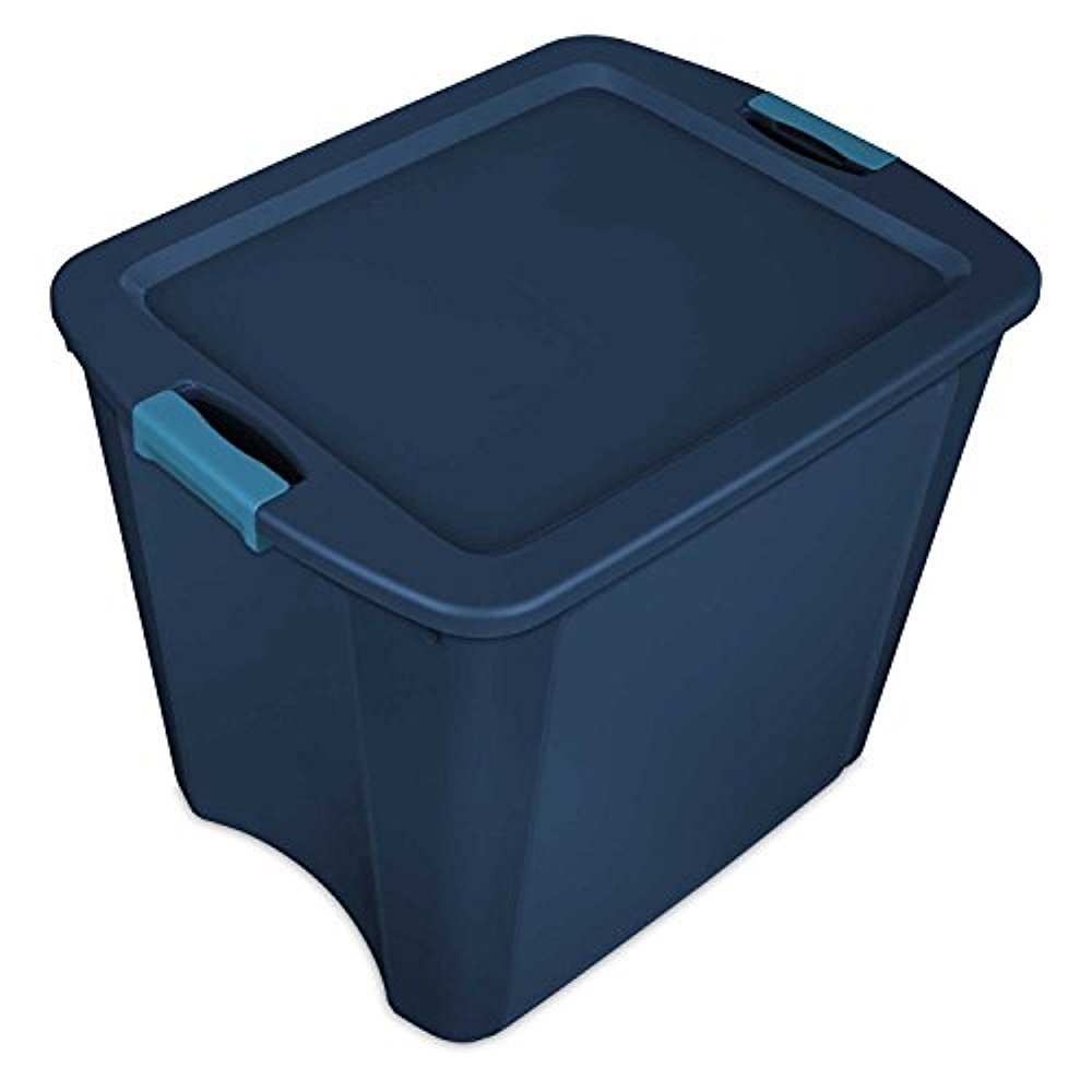 STERILITE Corp 14487404 Latch and Carry Tote with True Blue Lid and Base, 26 Gallon
