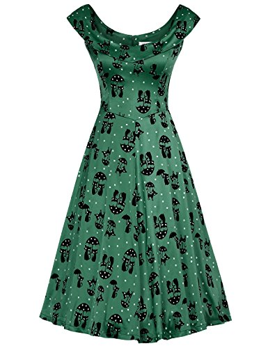 MUXXN Women's Sheath Fit and Flare Bridesmaid Party Dress (Green Cat XL)