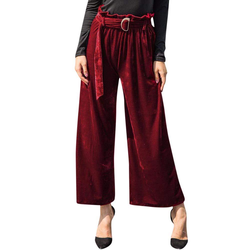 LOVELYOU Femme Large Jambe Pantalon Mode Taille Haute Elegant Dames Ceinture Casual Travail Chic Trousers Loose Pants Palazzo Printemps Automne