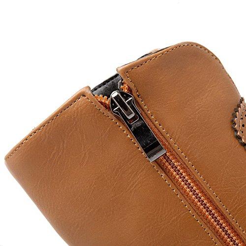 Round Toe Brown Lower Boots Zipper Women's Heels AgooLar High Solid Pile xqa14wU08