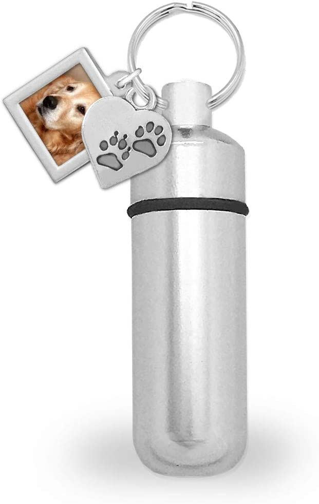 Pet Dog Cat Ashes Holder Urn Cremation Memorial Capsule Key Chain w/Photo Slide in Charm and Picture Resizing Software