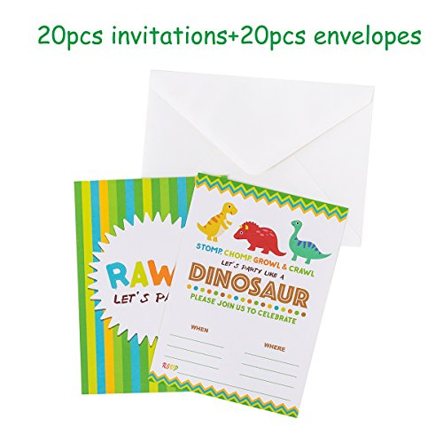 """Funnlot Dinosaur Party Invitations for Kids Dinosaur Party Supplies for boys Birthday Baby Shower 5"""" x 7"""" Fill in Invites with A7 Envelopes 20pcs + 20pcs"""