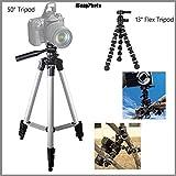 Bendable 13'' Rugged Tripod + Beginner 50'' Tripod Bundle for Kodak DX7440 - Portable Tripod, Flexible legs Camera Support