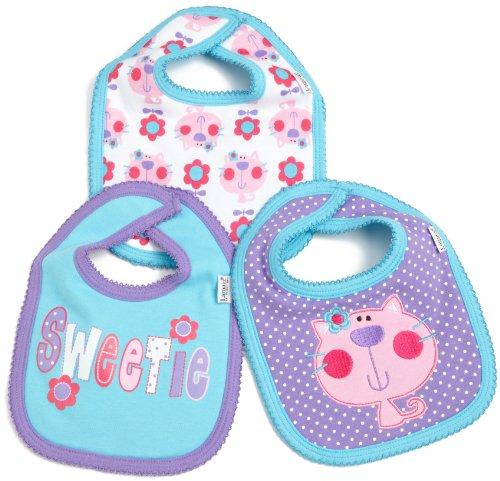 Lamaze Baby-Girls Newborn 3 Pack Flower Kitty Interlock Bib