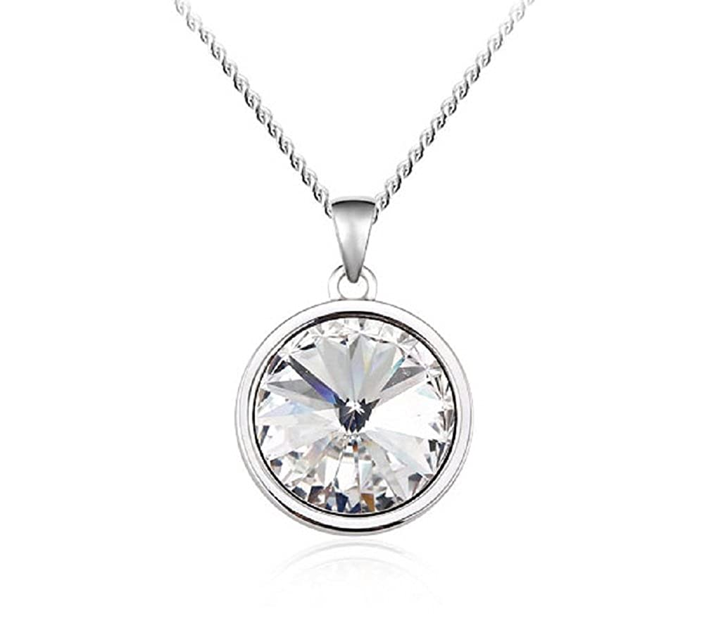 "77f69a563b2c4 UPSERA Round Solitaire Pendant Necklace for Women Made with Swarovski  Crystals Jewelry Silver-Tone Chain 17"" Plus 2"" Extender Gift for Her"