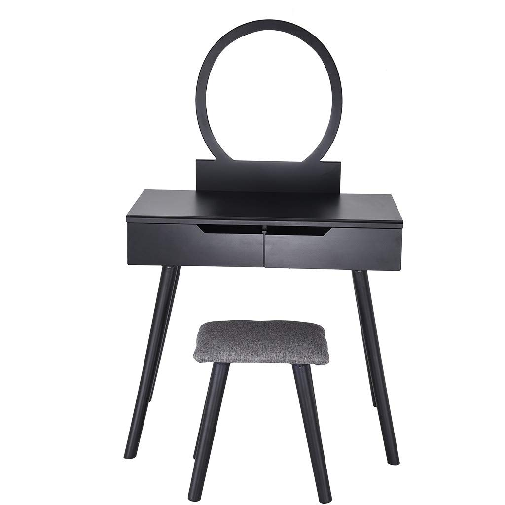 Vanity Table Set with Round Mirror 2 Large Sliding Drawers Makeup Dressing Table with Cushioned Stool-Ship from US! (Black)