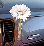 VW Beetle Flower - White and Diamond Bling Daisy with Universal Vase