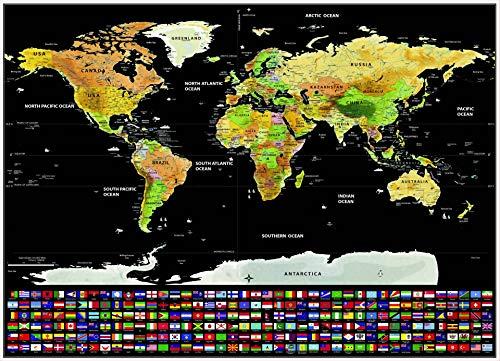 ZGZXD Póster Mapa Mundo Recortado, Adhesivos y murales Pared Grande, Banderas Nacionales y líneas estatales, Mapa de Viaje...