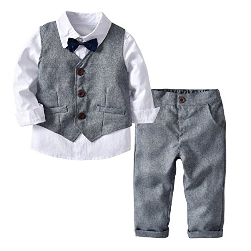 Kid Boy Formal Suit Long Sleeve Shirt with Bow Tie + Waistcoat + Long Pants 3Pcs (White + Grey, 5-6T)