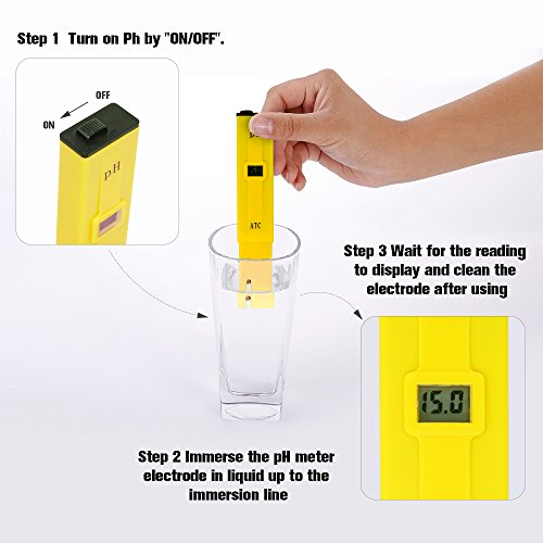 PH Meter, Daugee Pocket Size 0.01 PH High Accuracy Water Quality Tester with Auto Temp Compensation Function for Household Drinking, Pool and Aquarium (Yellow) by Daugee (Image #3)