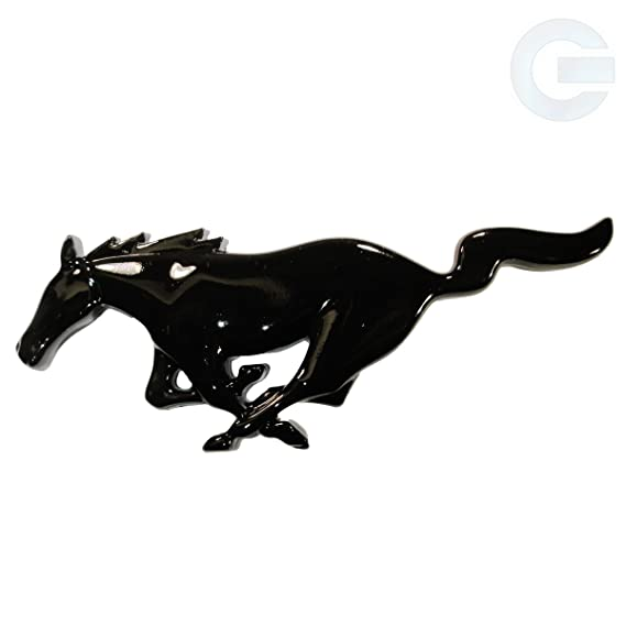 Amazon Ford Mustang Running Horse Emblem Badge Black Gloss