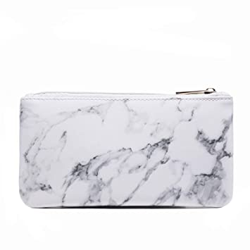 d3c5560d7622 Joyful Marble Cosmetic Bag Zipper Storage Bag Portable Ladies Travel Square  Makeup Brushes Bag...