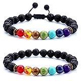 Arts & Crafts : Hamoery Men Women 8mm Lava Rock Chakra Beads Bracelet Set Braided Rope Natural Stone Yoga Bracelet Bangle (Set 1)