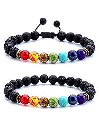 Hamoery Men Women 8mm Lava Rock Chakra Beads Bracelet Braided Rope Stone Agate Bracelet Bangle