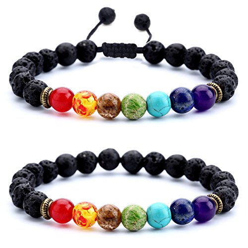 Hamoery Men Women 8mm Lava Rock Chakra Beads Bracelet Set Braided Rope Natural Stone Yoga Bracelet Bangle (Set 1) (Rope Oil)