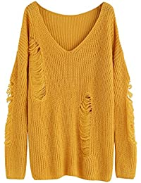 Women's V-Neck Ripped Long Sleeve Knitted Loose Pullover Sweater
