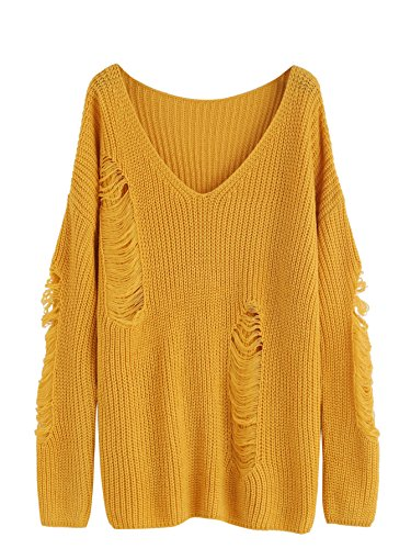 makemechic-womens-v-neck-ripped-long-sleeve-knit-loose-pullover-sweater-yellow-m