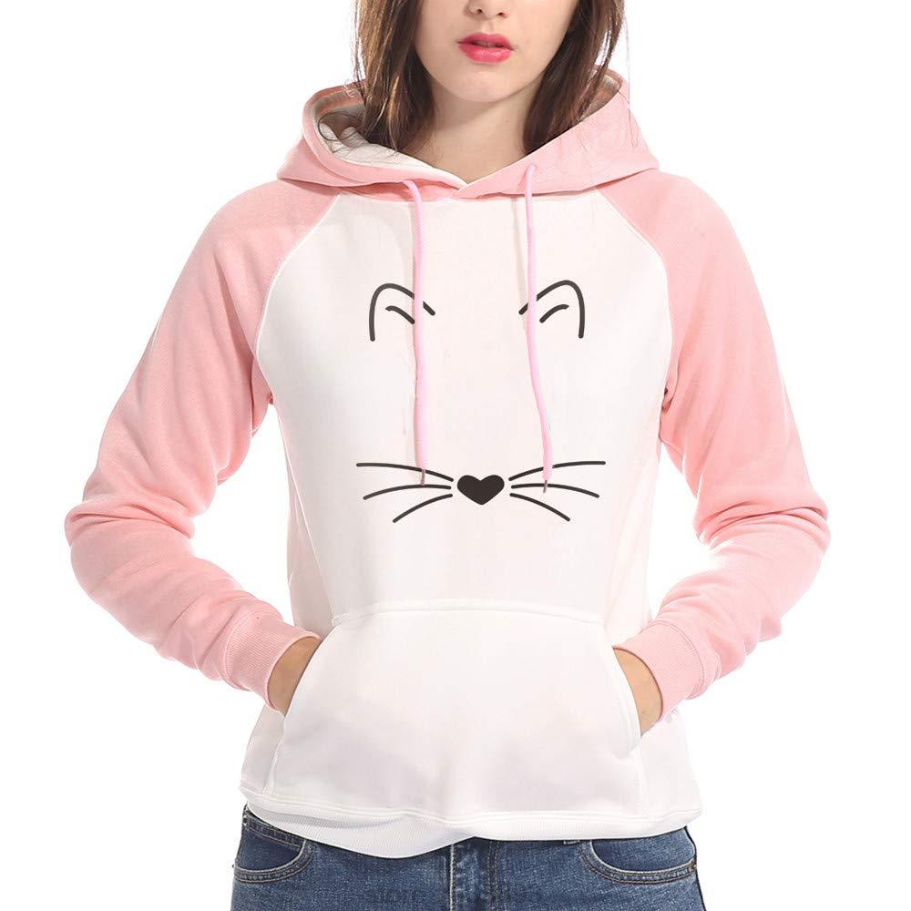 MITIY Hoodies Women Patchwork Hoodie Sweatshirt Lovely Cat Print Long Sleeve Causal Tops Blouse