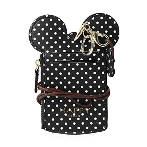 JOSEKO Women Cute Animal Shape Neck Bag Wave Dot Card Holder Lanyard Wallet Coin Purse Black 5.51''x 0.59''x 2.95''(L x W x H)