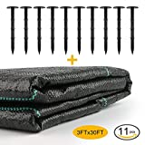 WINIT 11-Piece Weed Barrier Fabric (3ftx30ft) with 10 Landscape Stakes, Heavy Duty UV Stabilized Garden Landscape Weed Control Mat Sunbelt Ground Cover and Durable Anchoring Spikes