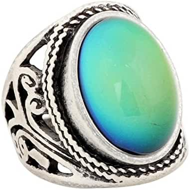 Mojo Handmade Unique Pattern Antique Sterling Silver Plating Oval Stone Color Change Mood Ring MJ-RS019