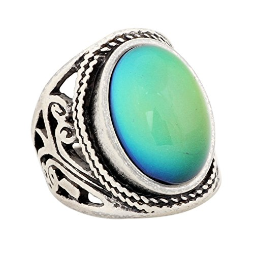 Mojo Handmade Unique Pattern Antique Sterling Silver Plating Oval Stone Color Change Mood Ring MJ-RS019 (7)