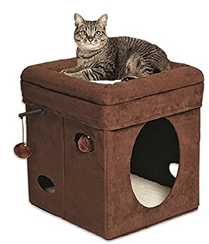 MidWest Homes for Pets Curious Cat Cube Brown Suede