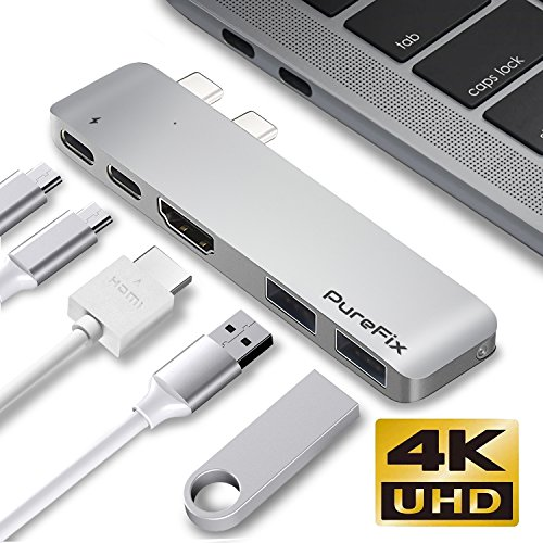 USB Type-C Hub Adapter, Fastest 40Gb/s Type-C 5 in 1 Multi-Port Dongle for MacBook Pro 13''/15'' with Thunderbolt 3, Pass-Through Charging, 2 USB 3.1 Ports and 4K HDMI Out (Silver) by Purefix