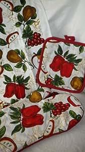 Cocina + guante para el horno + paño de cocina juego de diseño de frutas manzanas uvas pera