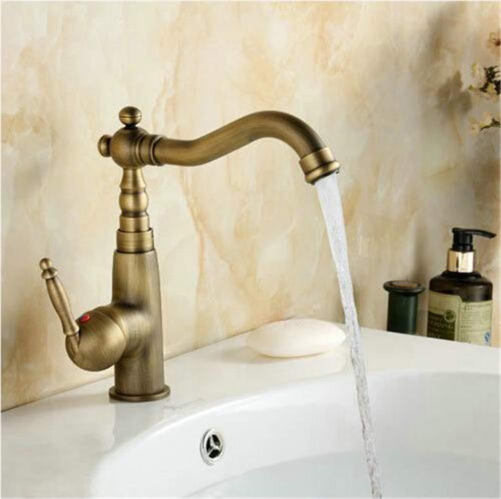 JingJingnet 洗面台の蛇口ミキサータップアンティーク真鍮仕上げホットとコールドデッキマウント化粧台シンクシンク蛇口 (Color : A) B07R1TMH87 A
