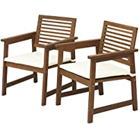 FURINNO Tioman Hardwood Armchair in Teak Oil with White Cushion (Set of 2)