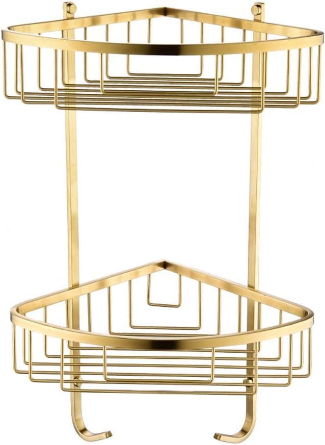 Hvauty Luxury Gold Double Corner Shower Caddy Stainless Steel 2 Tiers Bathroom Shower Shelf Wall Mount Rustproof Storage Rack Basket With Two Hooks For Shampoo Shower Gel Home Kitchen