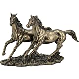 11 Inch Cold Cast Bronze Color Sprinting Horses Figurine Statue Decor