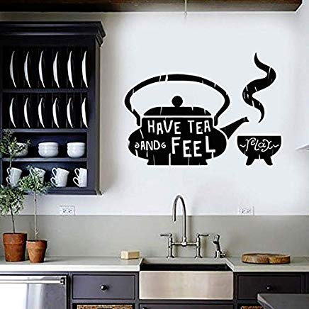 Darlene decal Classic Home Decor for Kitchen Tea Teapot Cafe Teahouse Quote Vinyl Wall Sticker Teahouse Restaurant Wall Decals Removable 79X57cm