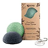 Facial Cleanser Sponge - AMAKI SKINCARE Konjac Sponge Facial Cleanser with Added Green Tea and Activated Bamboo Charcoal-Sensitive to Oily and Acne Prone Skin Gentle Face Scrub