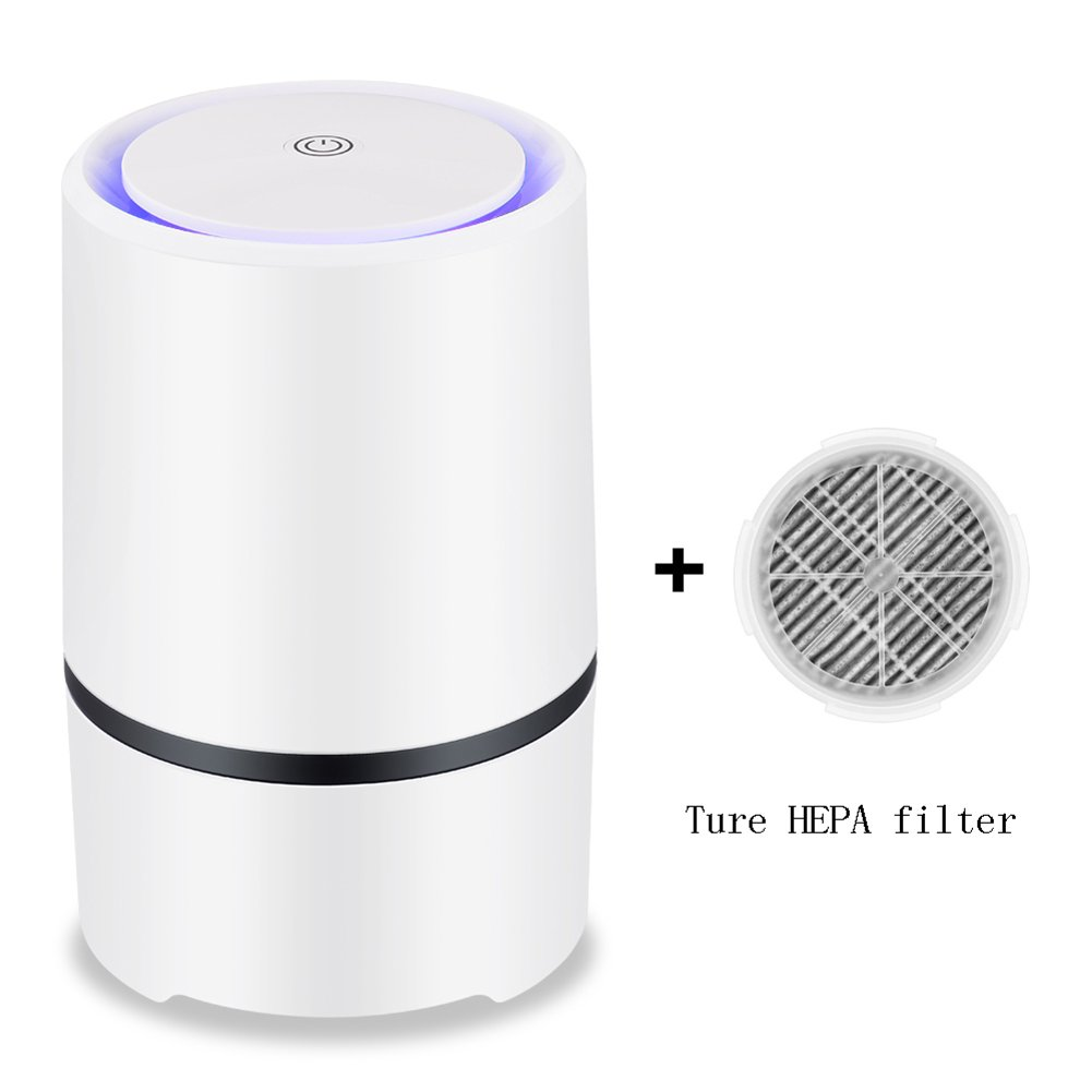 Portable Air Purifier Air lonizer USB Mini Air Cleaner True Hepa Homes Purifier Remove Cigarette Smoke Odor Smell Bacteria(Buy a set to send a filter core)