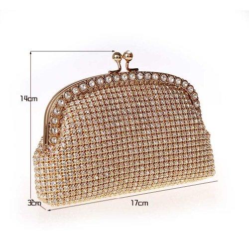 KAXIDY Elegante Diamant Abendtaschen Gold Unterarmtasche Handtaschen