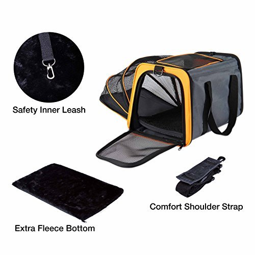 Pettom Expandable Foldable Pet Carrier Big Space Travel Handbag Soft-sided Bags for Dogs Cats and Other Animals(M, Orange) by Pettom (Image #6)