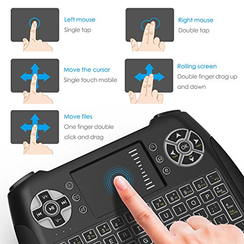 Mini Wireless Keyboard With Touchpad, Vive Comb 2.4G Rechargeable Backlit Handheld Remote Control Keyboard and Mouse Combo with Multimedia Keys for Android TV Box, PC, PAD, Smart TV, X-BOX, HTPC by vive comb (Image #3)