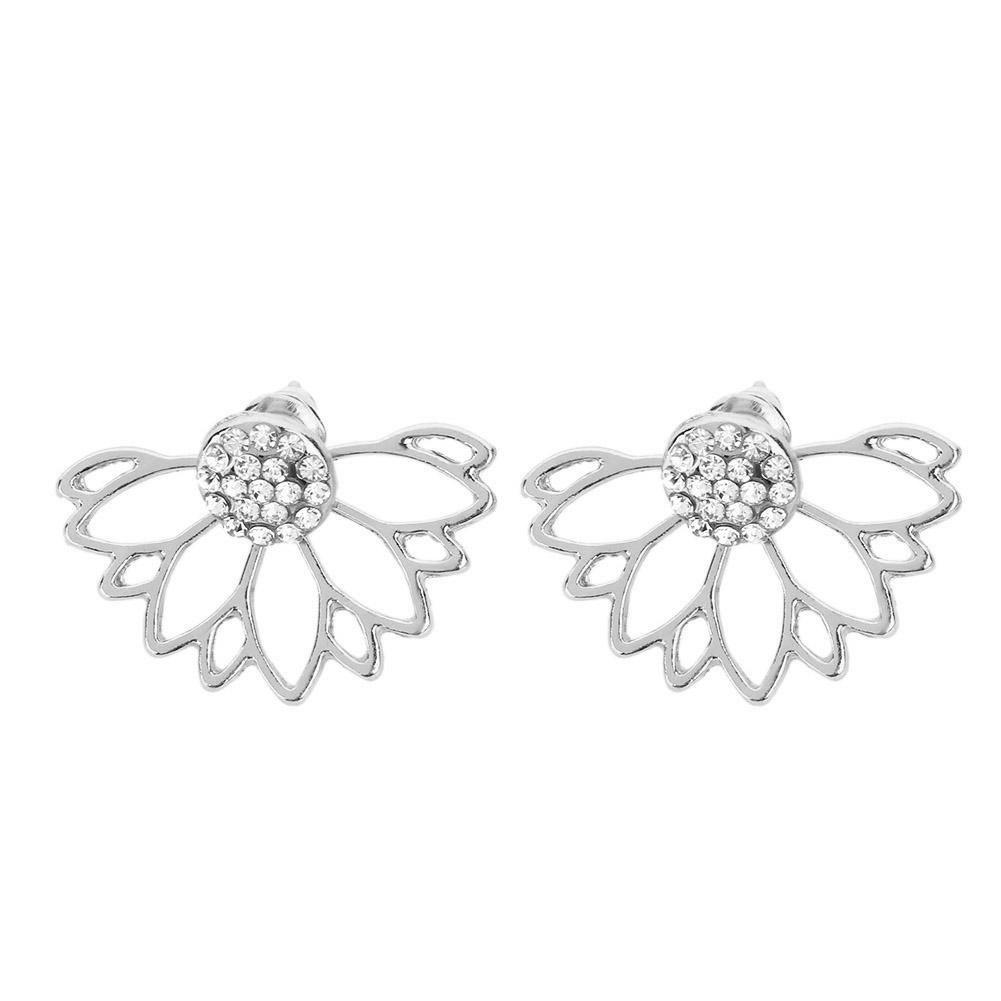 Diamondo Vintage Lotus Flower Stud Earring Women Fashion Crystal Jewelry(Silver) 1rk8uv3dm1an5df0D02