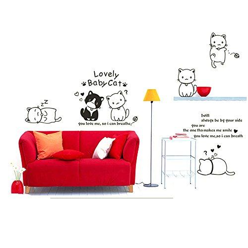EverTrust(TM)Lovely Cat Wall Sticke Art Decals Mural DIY Wallpaper for Room Decal Adesivo De Parede Home Decoration (Halloween Cat Iphone Wallpaper)