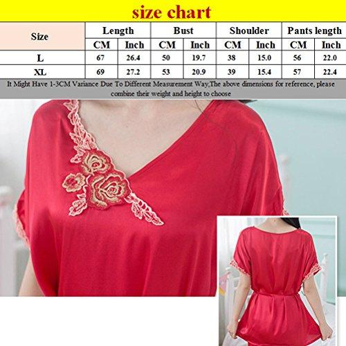 Zhhlaixing Women's Nightdress Lingerie Silky Stain Chemise Slip Nightwear Sleepwear Nightgown Set