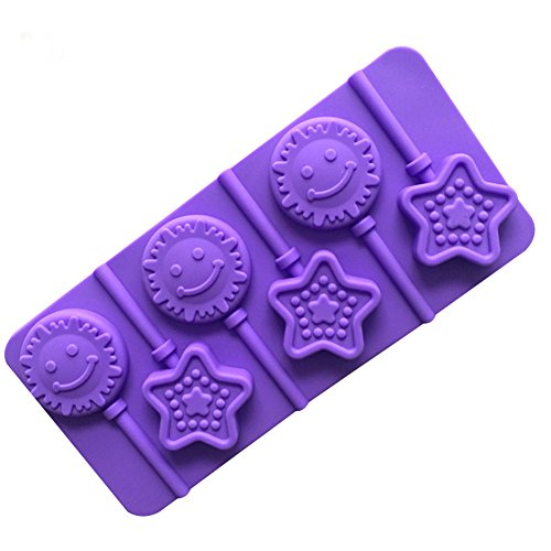 BEIGU Silicone Star Candy Mold Kitchen Smiley Face Lollipop Molds for Halloween Christmas Parties,Set of 2 -