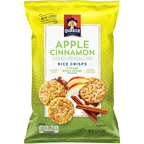 Quaker Rice Crisps, Apple Cinnamon, 7.04 oz Bags, 6 Count (Packaging May Vary)