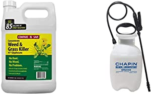 Compare-N-Save 016869 Concentrate Grass and Weed Killer, 41-Percent Glyphosate, 1-Gallon, White & Chapin International 20075 Disinfectant Bleach Sprayer, 1 Gallon, Translucent White
