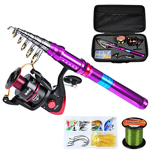 C0mdaba Fishing Rod and Reel Combos Telescopic Fishing Pole with Spinning Reels Fishing Carrier Bag for Travel Saltwater Freshwater Fishing Gear Set 2.1M Rod + VH250 + Bag