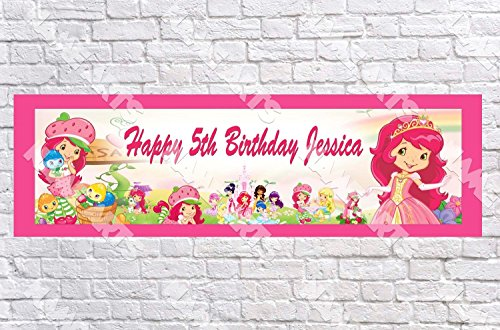 Personalized / Customized Strawberry Shortcake Name Poster with Border Mat- Home Wall Decor Birthday Party Door (Strawberry Shortcake Poster)