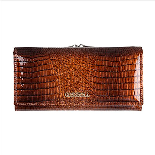 Leather Wallets for women Crocodile Grain Purse Luxury Genuine Leather Cluth Wallet Ladies Bag by COSSROLL